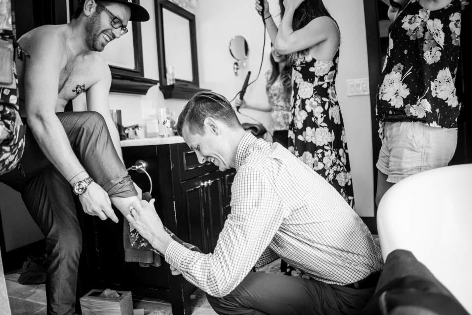 documentary wedding photography groom getting ready