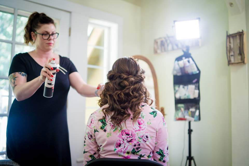 finishing touches for brides hair
