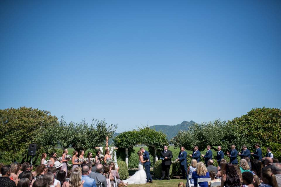first kiss maplehurst farm wedding ceremony photos