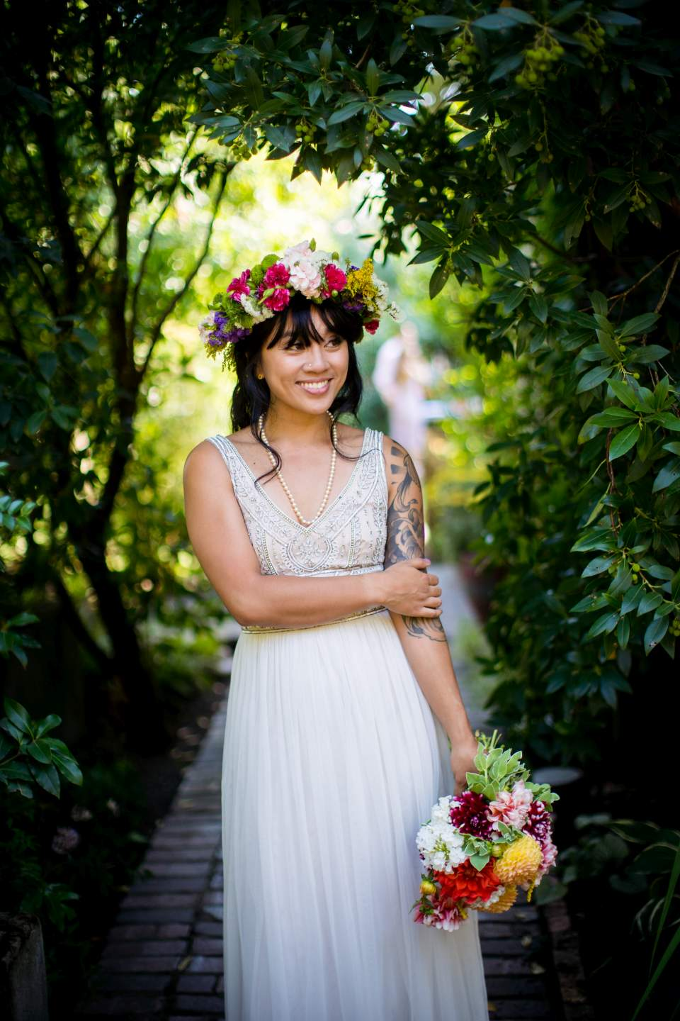 fun smiling bridal portrait corson building