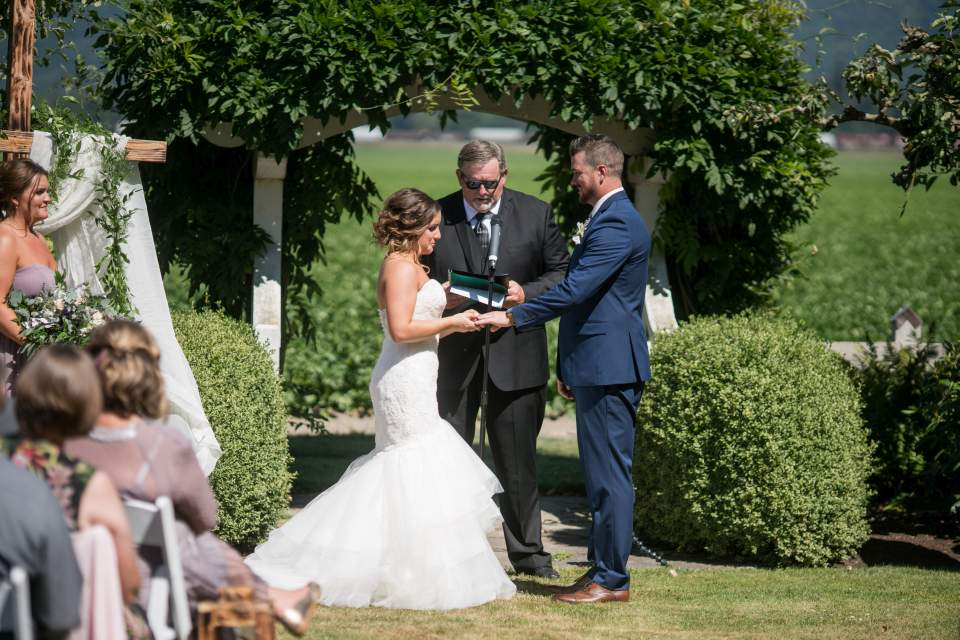 giving and receiving wedding bands during ceremony