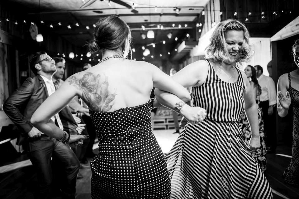 guests dancing at wedding reception