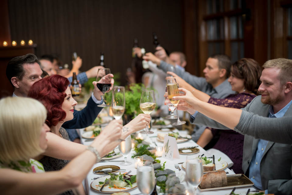 guests toasting wedding reception