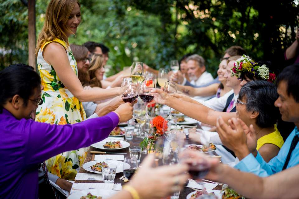 guests toasting wedding