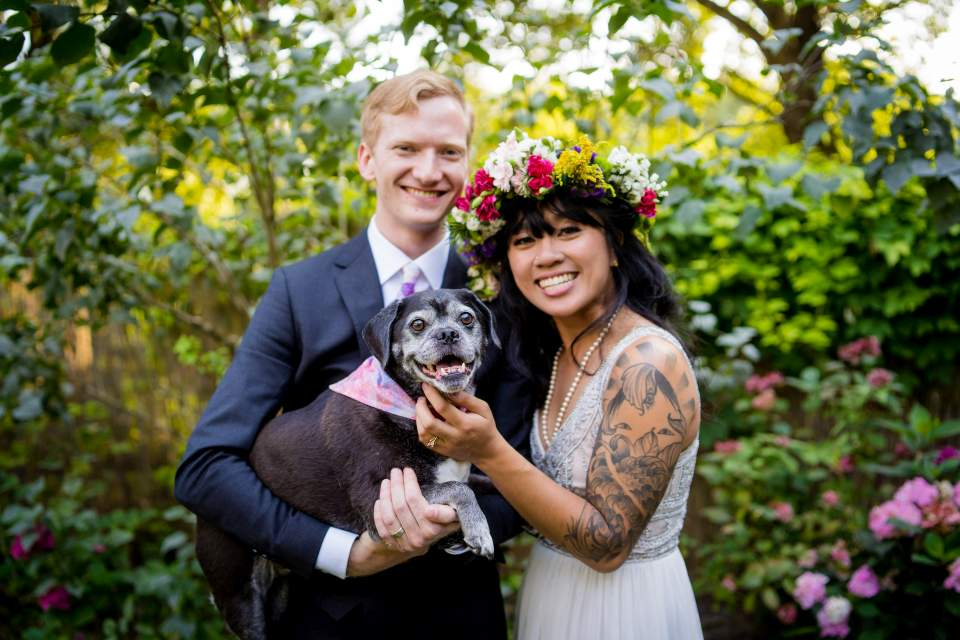 offbeat bride and groom with their dog boho wedding