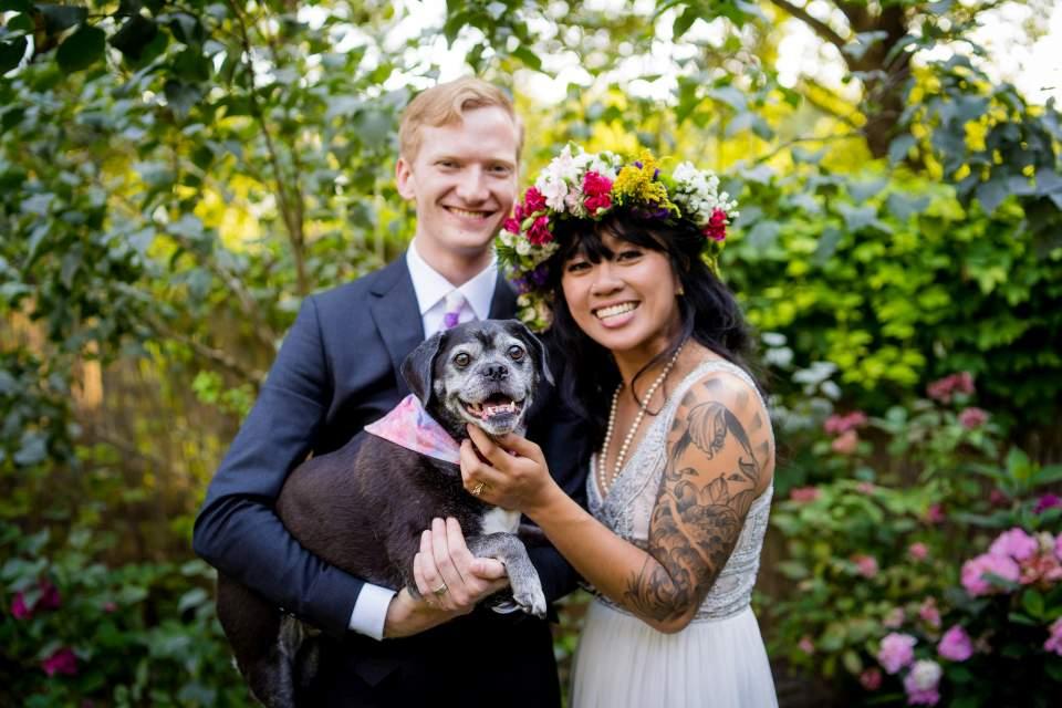 offbeat bride and groom with their dog boho wedding