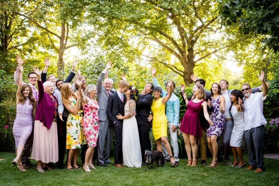 photos with friends having fun off beat wedding