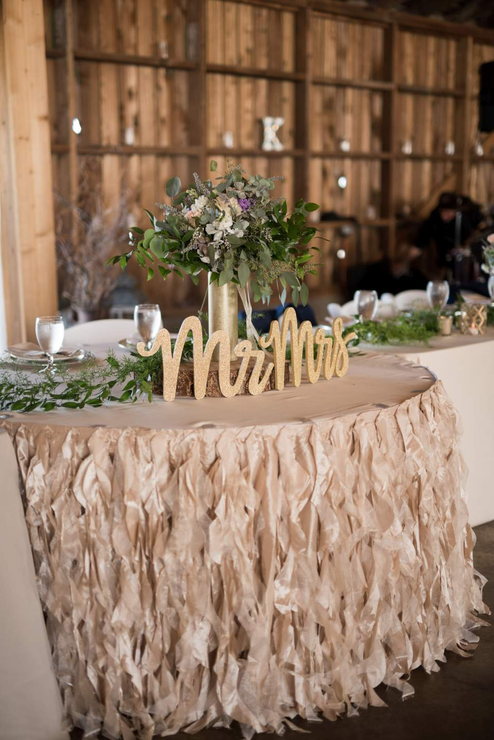 pink and gold rustic barn wedding decorations