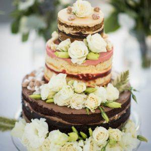 stunning floral naked wedding cake