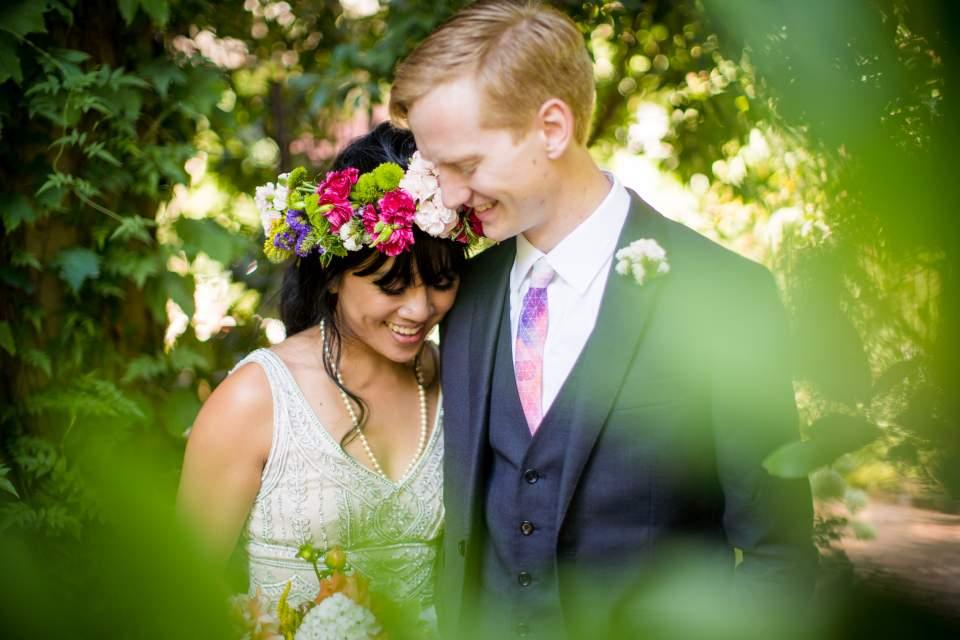 sweet romantic intimate bride and groom protrait boho bride and groom