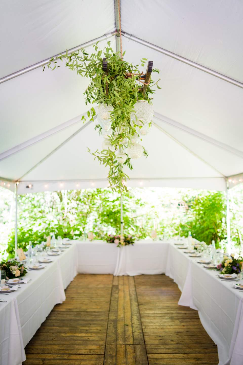 tent wedding reception at treehouse point
