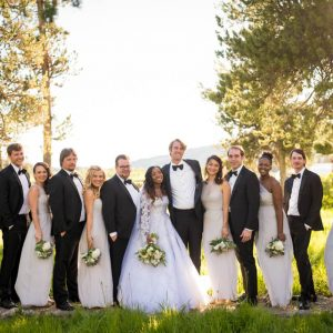 wedding party group photo turpin meadow ranch grand teton