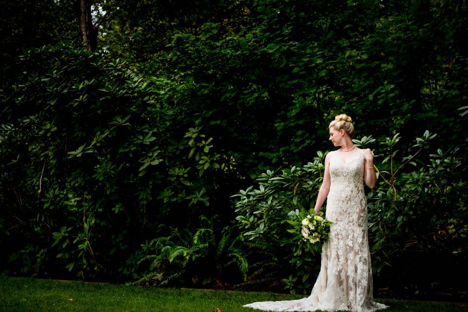 wide bride profile photo botanical wedding