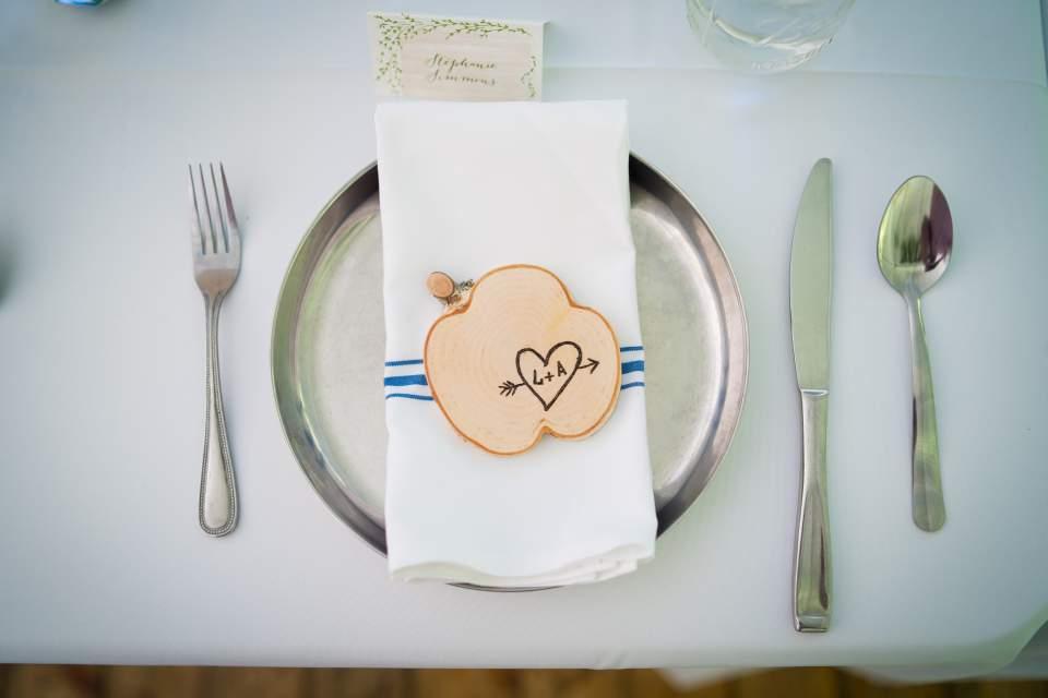 woodsy table settings for washington wedding