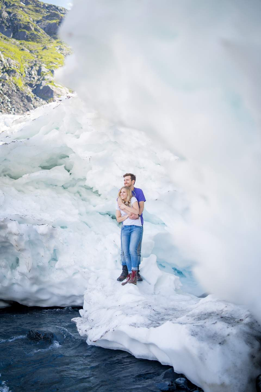 byron glacier engagement photos