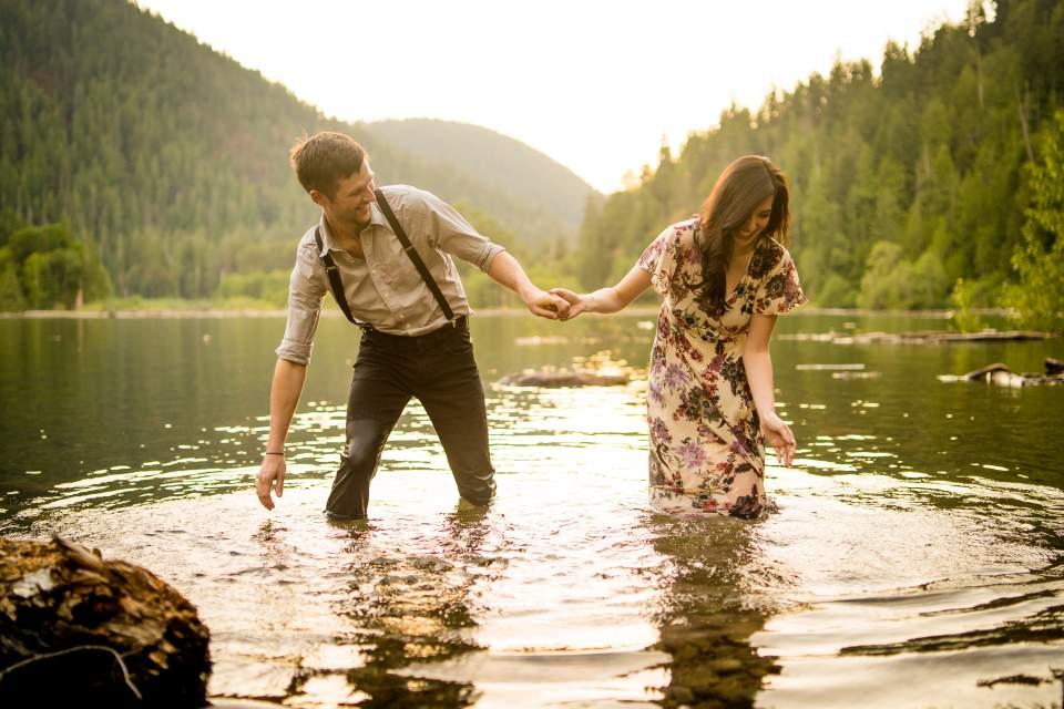 couple splashing each other