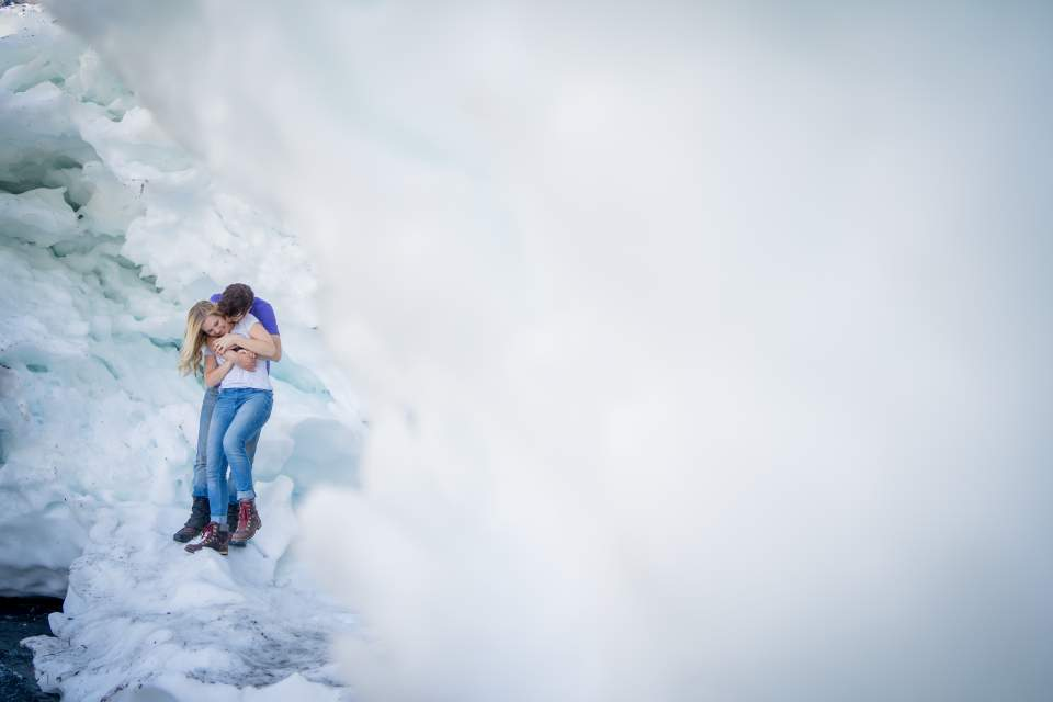 cute couples photos on a glacier