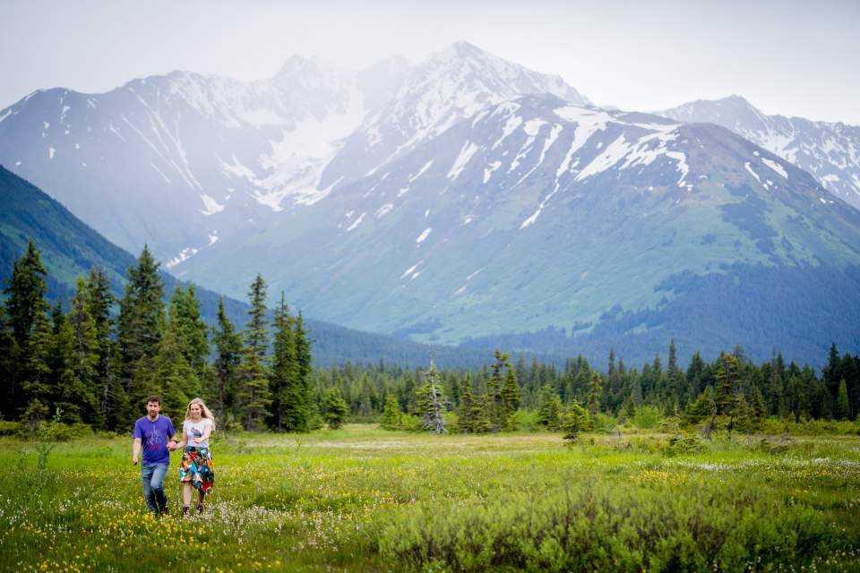 engagement photos at alyeska in girdwood