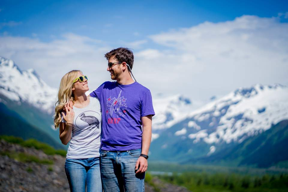 fun alaska engagement photos