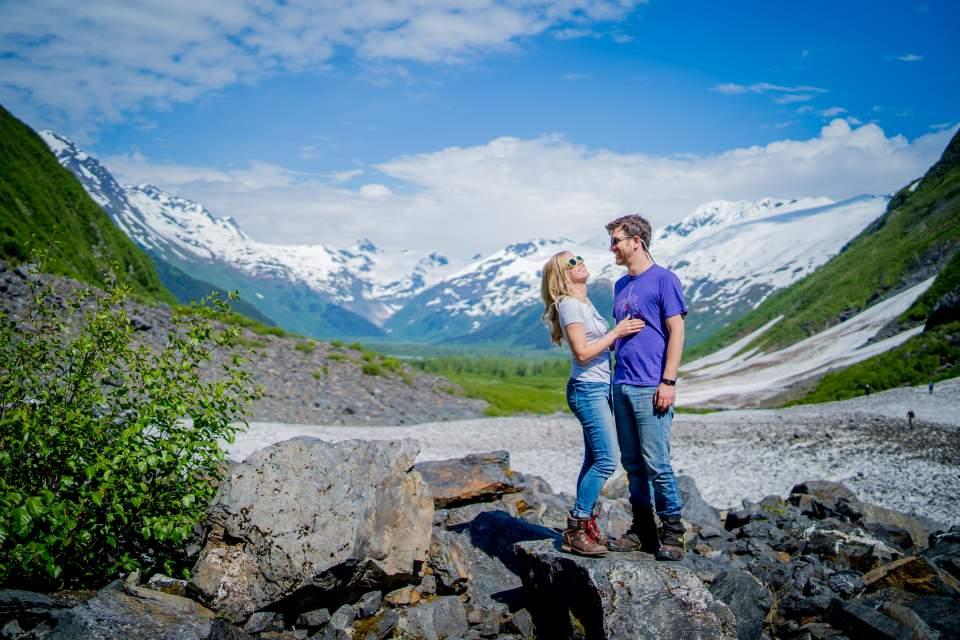 fun and adventurous engagement photos in alaska