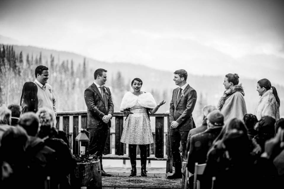 black and white photo of a winter wedding in the mountains
