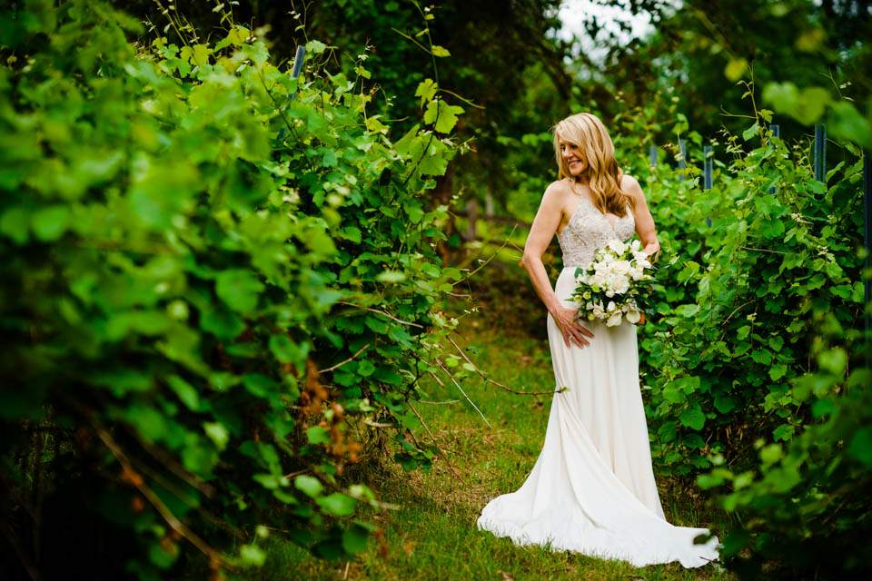 bridal portrait in vineyard in woodinville