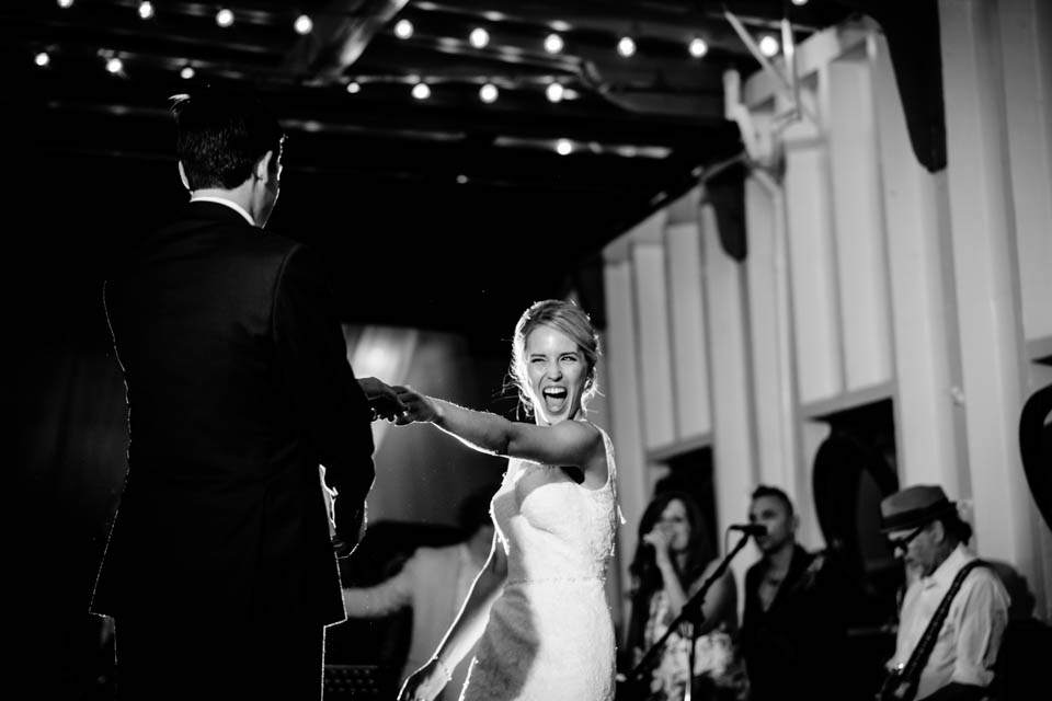bride and groom first dance to live band on the mv skansonia