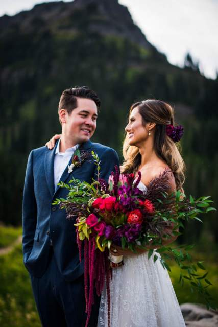 bride and groom portraits in mountains