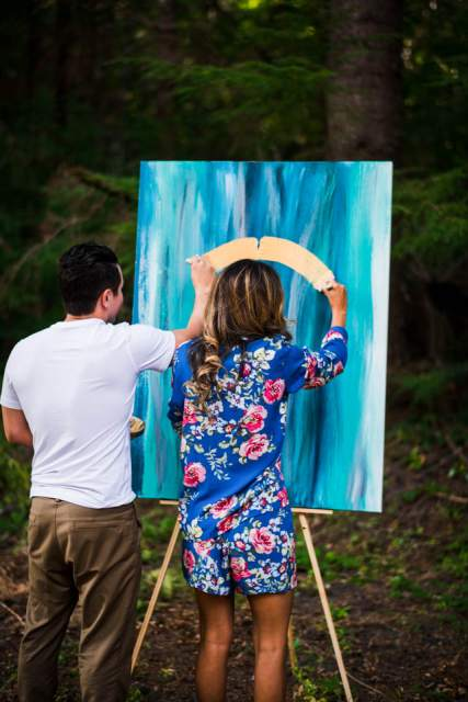 bride and groom unity painting