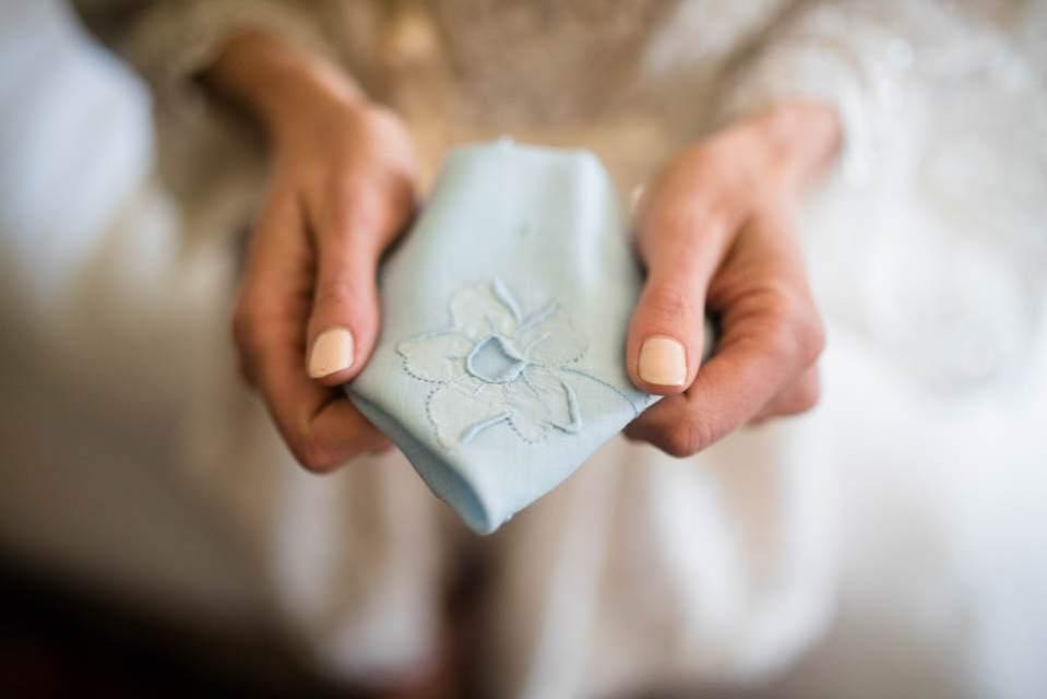 bride holding heirloom hankerchief