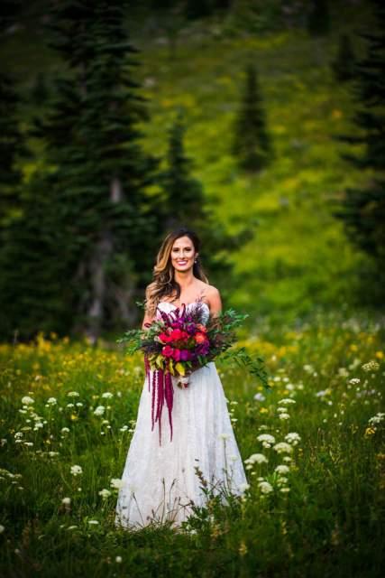 bride in wildflowers