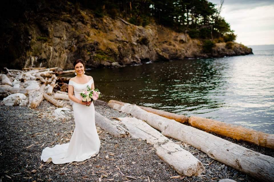 bride on beach on san juan island