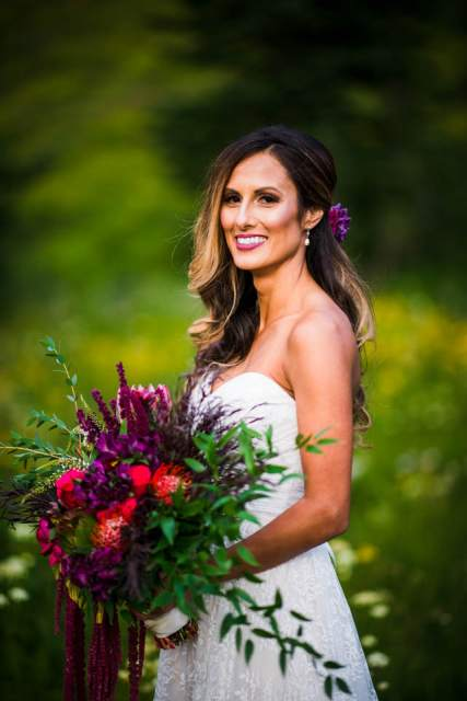 bride portrait with giant bouquet