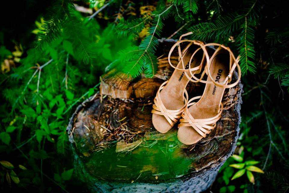 bride shoes in woods 2