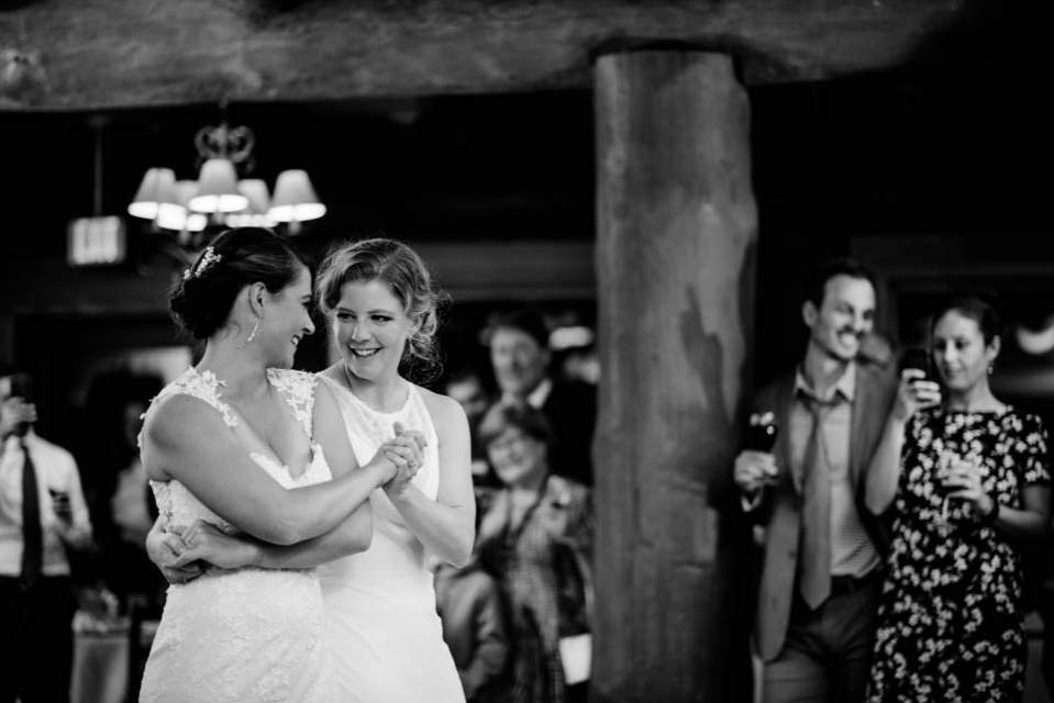 brides dancing inside mountain lodge 2
