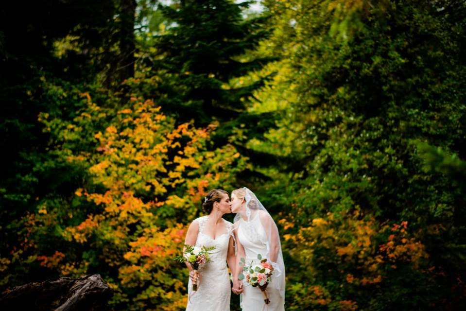 brides in front of fall colors 2