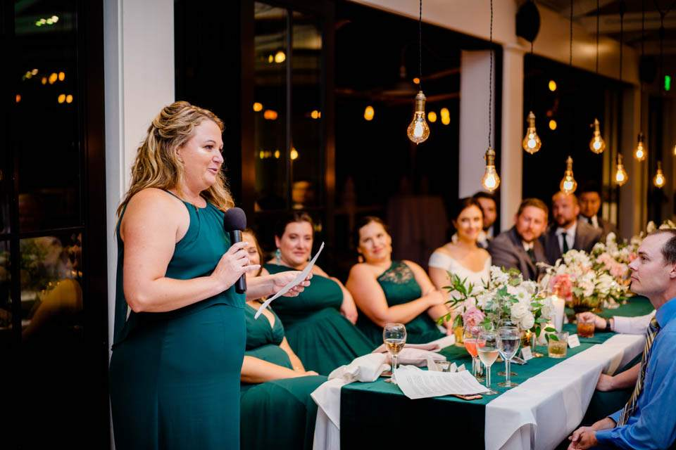 brides sister in law toasts couple after dinner