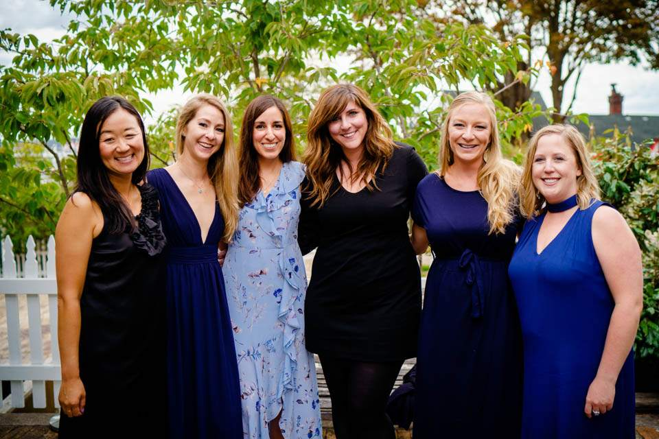 candid group shot of friends at wedding