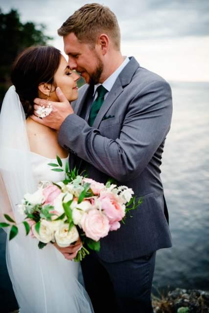 classic bride and groom photos near ocean
