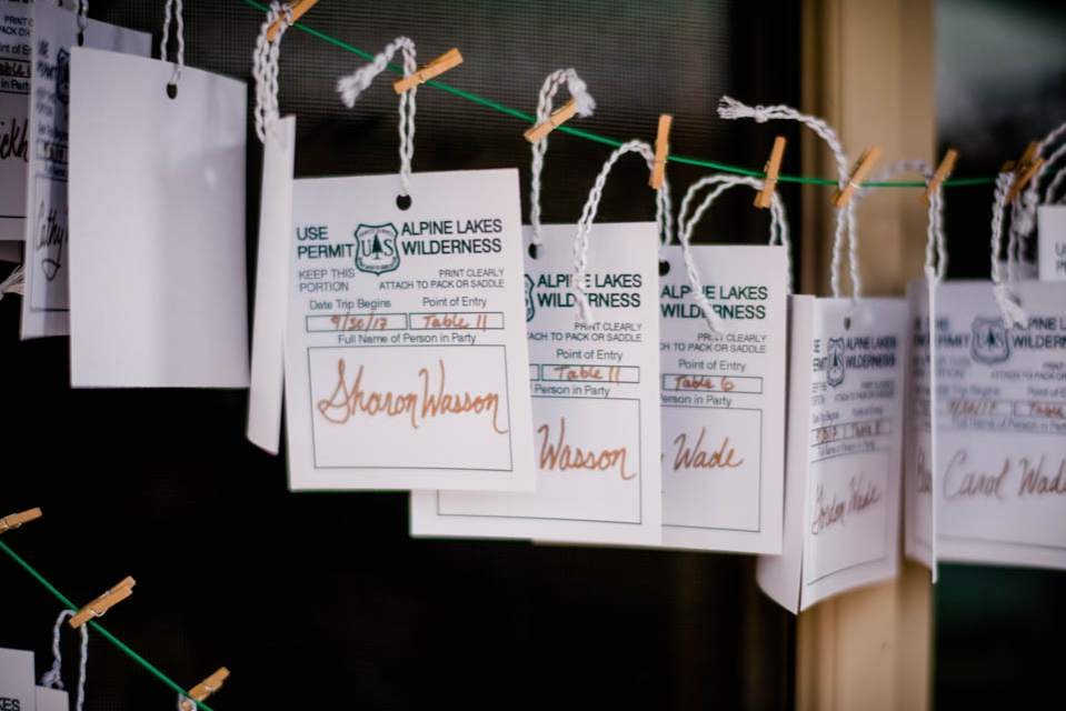 cute hiking themed place cards for mountain wedding 1