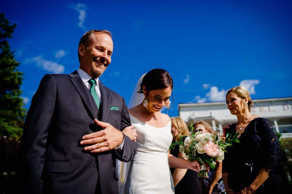 emotional bride and dad before ceremony