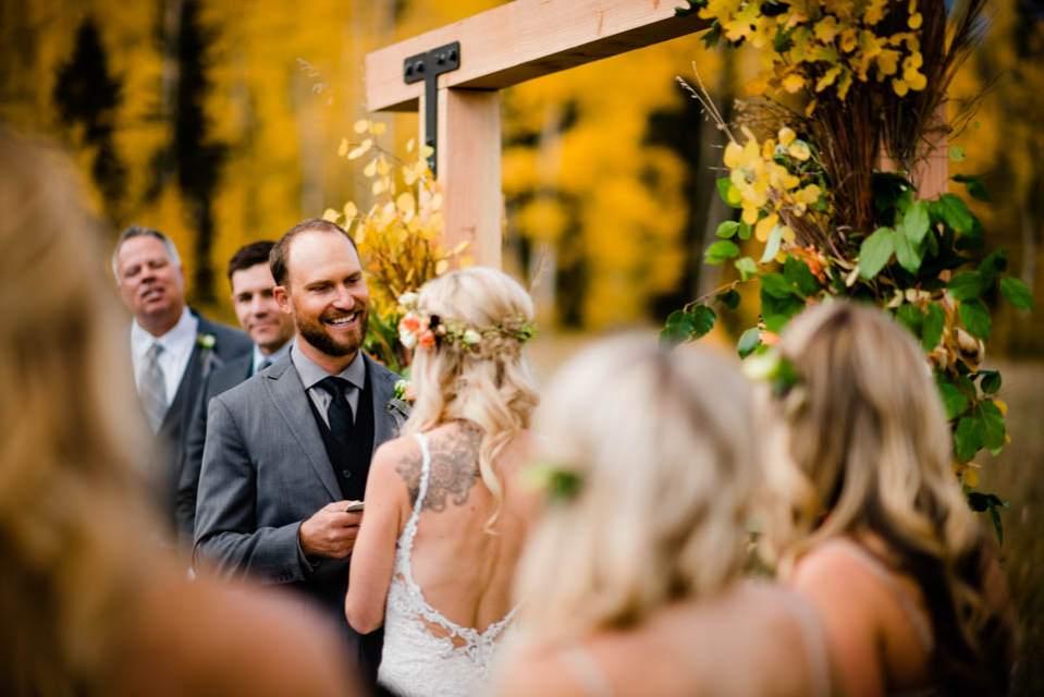fall outdoor wedding in colorado