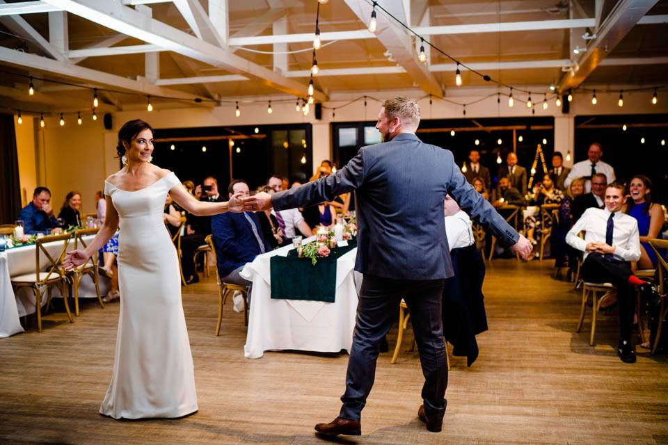 first dance inside reception space at roche harbor resort wedding