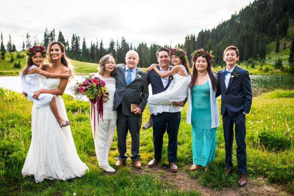 fun group photo after wedding