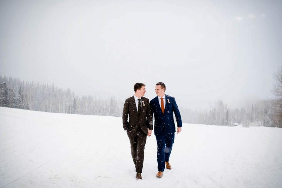 gay winter wedding at a mountain lodge