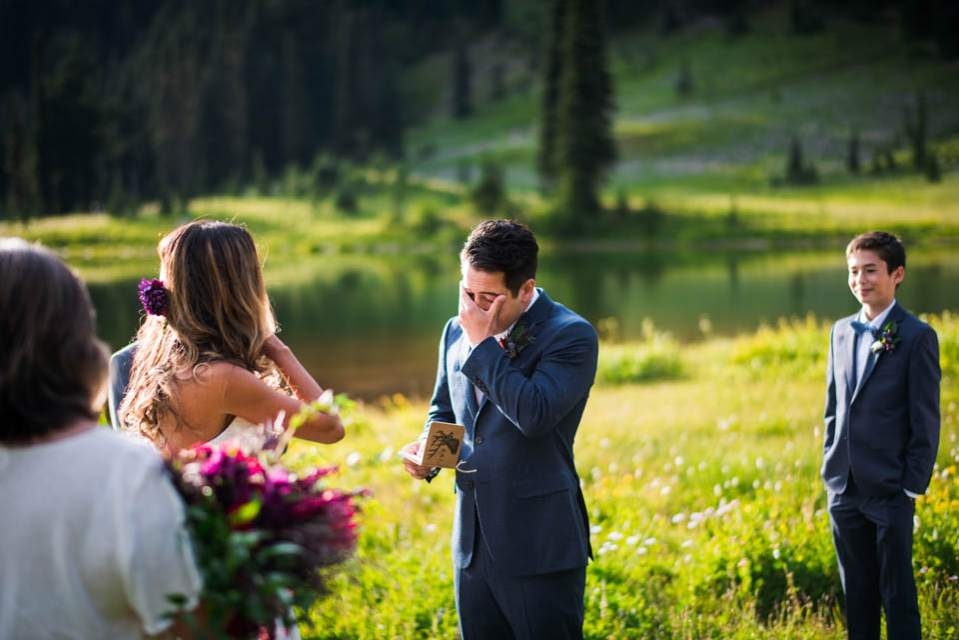 groom crying during elopement
