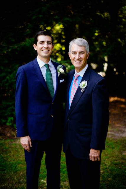 groom formal photo with dad