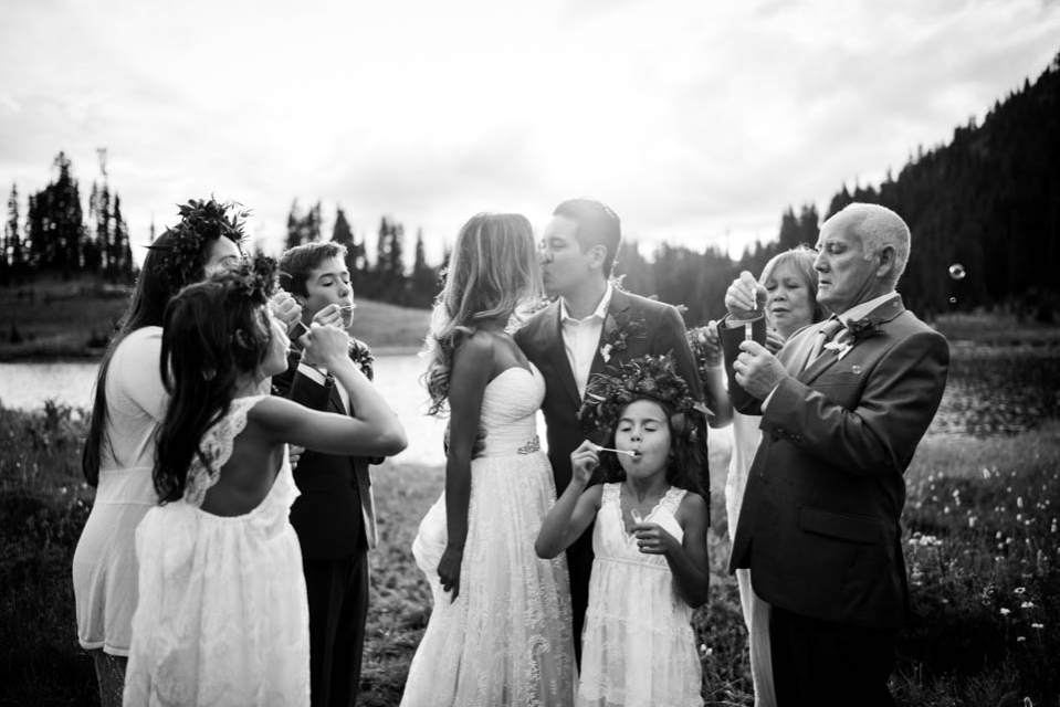 intimate fun mountain wedding