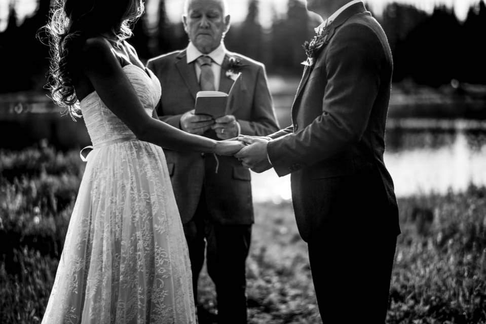 intimate mountain wedding ceremony