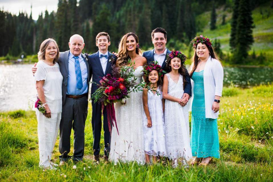 intimate mountain wedding family photo